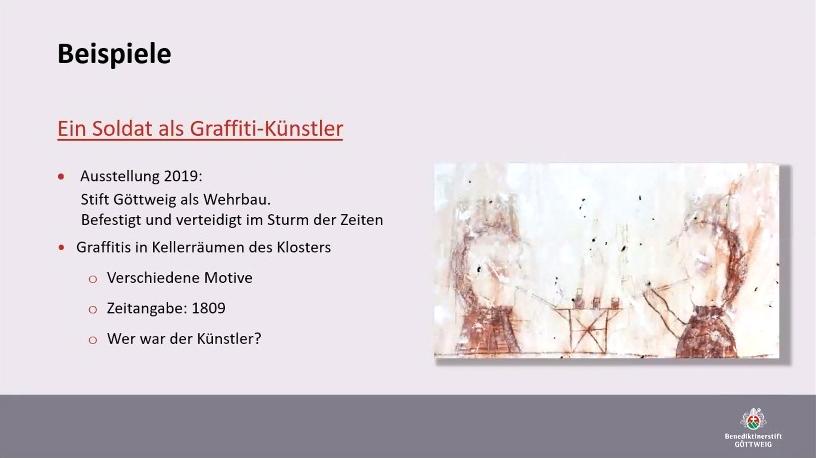 Kellerfunde im Stift Göttweig: Graffiti aus dem Jahr 1809. (c) OG/Göttweig
